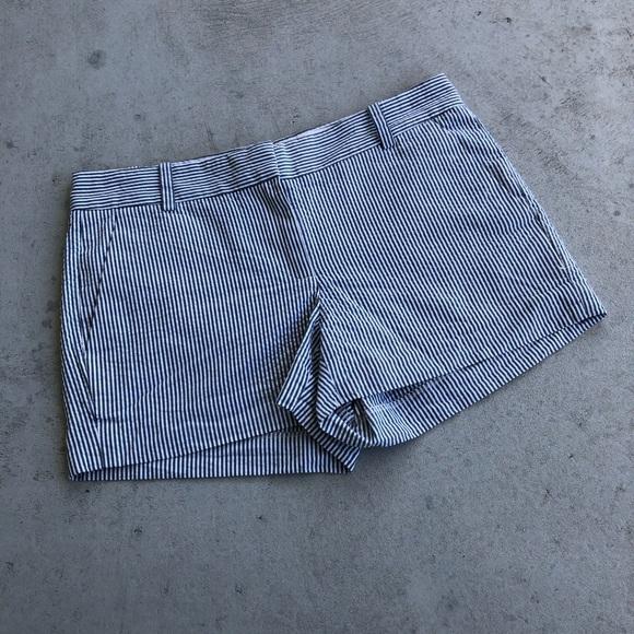 J. Crew Pants - J. Crew Grey & White Striped Cotton Shorts